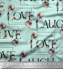Soimoi Fabric Floral Love Text Print Fabric by Meter - TX-514F