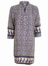 Indigo Blue Purple Pink Floral Paisley Print Mini Dress or Long Tunic Top 10-16