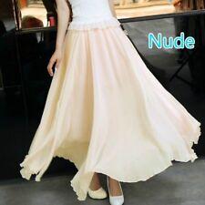 Women Lady Chiffon Long Skirt A Line Elastic High Waist Swing Boho Beach Casual