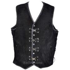 Suede Motorcycle Vest Buckle Leather Waistcoat Triple Braid Biker Suede Vest
