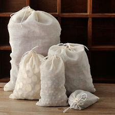 20-200X Cotton Muslin Drawstring Bags Tea Spice Grain Herbs 3x4 6x8 10x12 16x20