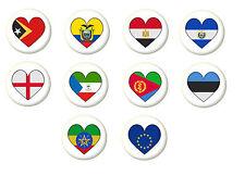 Country Flag Heart Pin Button Badge Magnet Keyring Bottle Opener Mirror - E