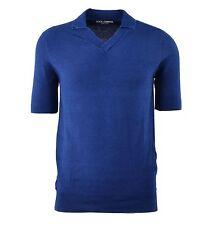 DOLCE & GABBANA Gestricktes Polo Shirt aus Baumwolle Blau Knitted Shirt 04237