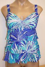 NWT Swim Solutions Swimsuit Bikini Tankini Top Black Blue Ruffles
