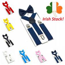 Kids Suspenders with Bow Tie Adjustable Y-Back Clip On Braces Boy Girl Elastic