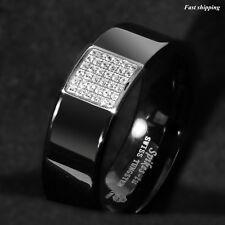 8mm Black Tungsten Ring 925 Silver Inlay 36 Diamonds ATOP Men Wedding Band Ring