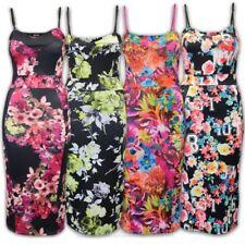 Ladies Dress Women Strappy Bodycon Midi Floral Flowers Print Stretch Party New