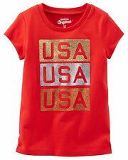 "OshKosh Boys' Short Sleeve Glittery ""USA, USA, USA"" Red Tee"