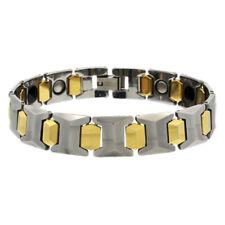 Men Women 12MM Tungsten CarbideTwo Tone Bar Link Magnetic Bracelet
