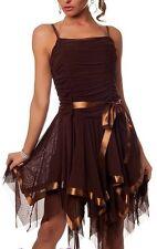 SeXy Miss Damen Satin Cocktail Tüll Tanz Kleid Dance Dress Zipfel 34/36/38 braun