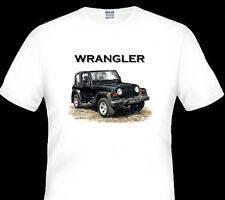 JEEP  WRANGLER   QUALITY WHITE TSHIRT     ( 4 CAR COLOURS)