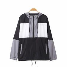 Men's Hooded Pullover Lightweight Windbreaker Sports Zip Outdoor Jacket Coat
