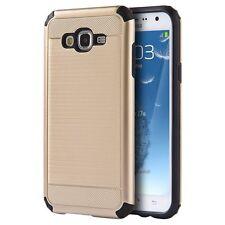 For Samsung Galaxy J7 J700 Slim Brushed Hybrid Shockproof Case+Glass Screen