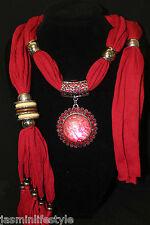 New Summer Charm Gem Diamante Pendant Jewellery Necklace Hijab Scarf Stole Wrap