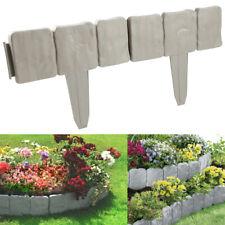 10/ 20/ 30PCS Grey Cobbled Stone Effect Plastic Garden Lawn Edging Plant Border