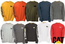 Mens CAT Workwear T-Shirt Long Sleeved Casual Durable Cotton Caterpillar Tee