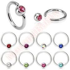 Ring Hoop Body Piercing Jewellery 316L Surgical Steel Gem Captive Bead
