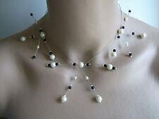 Collier Original couleur Ivoire/Noir p robe de Mariée/Mariage/Soirée perles
