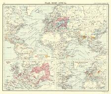 Old World Map - Global Production Flax, Hemp, Jute - Newnes 1907 - 23 x 27.18