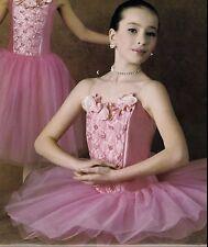NWT Rose Accented Taffeta Ballet Costume Short Attached 5 lyr Tutu Adult/Child