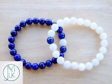 Couple Moonstone/Lapis Lazuli Natural Gemstone Bracelet 6-9'' Elasticated Chakra