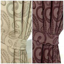 Jacquard Curtains Tie Backs Pair Traditional Paisley Design 66 cm Cream, Purple