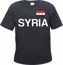 SYRIA Herren T-Shirt - Mit Flagge Druck - S bis 3XL - Schwarz - republik syrien