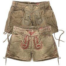 Krüger Damen Trachten Shorts Hotpants Kurze Hose Stickerei Oktoberfest Latz
