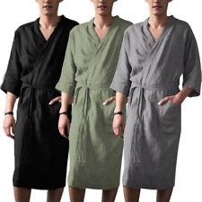 Men's Linen Bath Robe Pajamas Long Sleeve Sleepwear Kimono Bathrobe Nightgown US