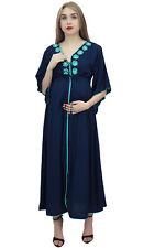 Bimba Moms Kimono Sleeve Embroidered Blue Drawstring Waist Maternity Dress