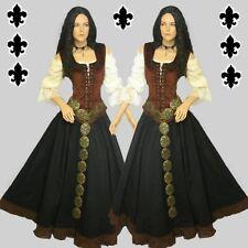 Mittelalter Gothic Kleid Gewand 3-teilig Bluse Mieder Rock schwarz braun od. rot