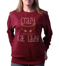 Crazy Cat Lady Cute Funny Slogan Loose Fit Ladies Gift Sweater Womens Sweatshirt