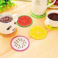 4er / 6er Set Untersetzer Frucht Glasuntersetzer rund bunt PVC Melone Zitrone