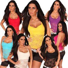 Neckholder-Top Wasserfall-Optik & Spitze sexy trendy Sommer T-Shirt Damen Größe
