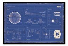 Encadré Star wars imperial fleet blueprint Poster prêt à accrocher New