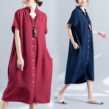 Lady Long Shirts Dress Lapel V Neck Short Sleeve Button Down Pocket Baggy Casual