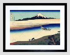 KATSUSHIKA HOKUSAI TAMA RIVER MUSASHI PROVINCE BLACK FRAMED ART PRINT B12X950