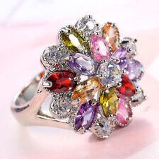 Flower Shaped Multi Pink topaz Morganite Amethyst Garnet Silver Ring Size 6-10