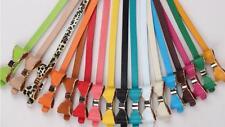 Niñas Damas Con Moños Candy Color Delgado Hebilla Cinturón de cuero en la cintura Uk