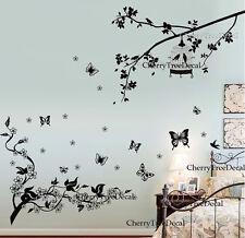 BIRD Cage Albero FARFALLE Vite Fiori Adesivi Murali Arredamento Murale Carta UK