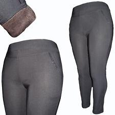 Damen Warme Thermo Stretch Treggings Übergröße Hose Leggings Big Sitz