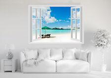 Adesivi Murali Finestra - MARE OCEANO SPIAGGIA CARAI - Wall Stickers 3D - VINILE