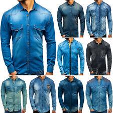 Jeanshemd Freizeithemd Herrenhemd Denim Hemd Jeans Men Herren Mix BOLF 2B2 Motiv