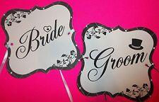 Custom Bride & Groom Chair Signs Set #1 Couple Props Wedding Reception Table