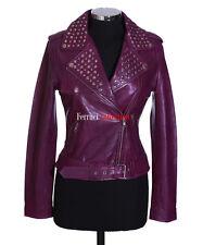 Veronica Purple Ladies Studded Biker Style Retro Fashion Lambskin leather Jacket