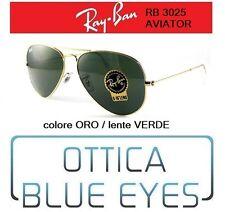 Occhiali da Sole RAYBAN RB 3025 AVIATOR CLASSIC ORO Sunglasses VERDE L0205 GOLD