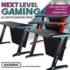 OVERDRIVE Gaming Desk 120cm 60cm PC Black Lights Computer Carbon Fiber Style