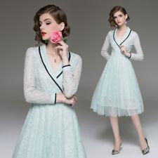 Women Lace Long Sleeve Collar V-neck Pleated Fashion Midi Dress Ladies Skirt