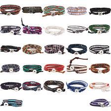 Handmade Crystal Stone Beads 2 Wrap Bracelet Genuine Leather For Women Men Gift