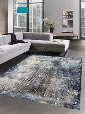 Tapis moderne tapis de salon vintage karo bleu gris noir